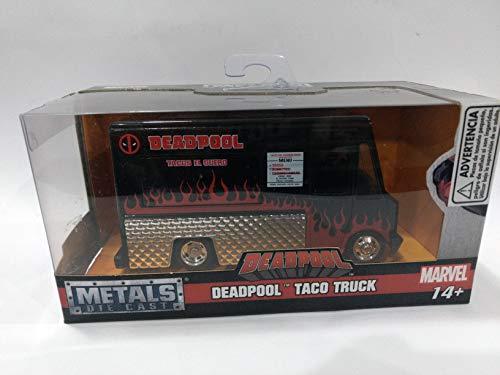 Jada 30864 - Modell Taco Truck aus dem Film Deadpool Metal DieCast Maßstab 1/32 11cm Schwarz / Rot Original Marvel