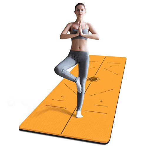 FrenzyBird 6 mm Thick Yoga Mat with Carrying Strap and Alignment Marks, Anti Slip and Easy to Clean, Provides Perfect Cushioning, Ideal for Beginners and Advanced Yogis