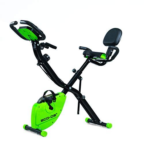 ECODE Bicicleta Estática Plegable SLIM BIKE Tensores Elásticos de Resistencia para Rutinas de Tronco Superior, Panel LCD