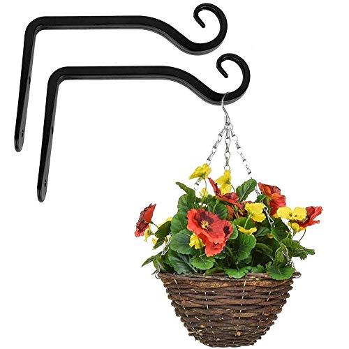Cyleibe Blumenampel Halterung,Wandhaken Schwarz Wandhalterungen aus Schmiedeeisen für Vogelfutterhäuschen Pflanzen Laternen Windspiele 2 Stück