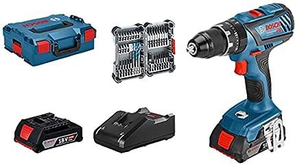 Bosch Professional 18 V System Taladro Percutor a Batería GSB 18 V-28, Torsión Hasta: 63 Nm, Incluye 35 pcs, Juego de Accesorios de Impacto, 2x 2.0 Ah Batería, en L-BOXX 136, Amazon Exclusive Set