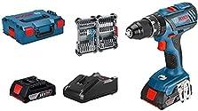 Bosch Professional 18V System Akku Schlagbohrschrauber GSB 18V-28 (max. Drehmoment: 63 Nm, inkl. 35tlg. Impact Zubehör-Set, 2x 2,0 Ah Akku, Ladegerät GAL 18V-40, in L-BOXX 136) - Amazon Exclusive©Amazon