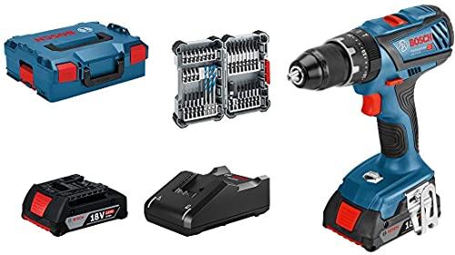 Bosch Professional 18V System Taladro percutor a batería GSB 18V-28 (torsión máxima: 63 Nm, incl. 35 pcs. Juego de accesorios de impacto, 2x 2.0 Ah batería, en L-BOXX 136) - Amazon Exclusive