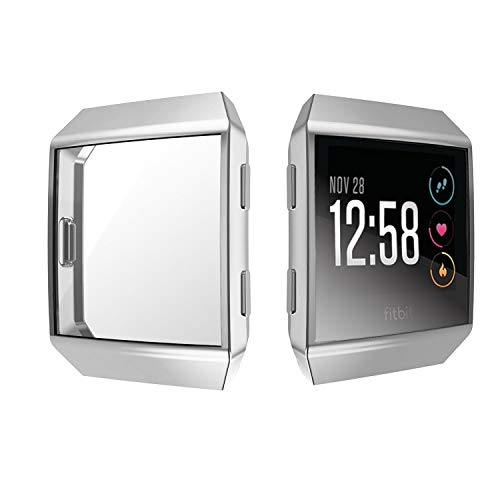 Jvchengxi für Fitbit Ionic Displayschutz Hülle, TPU Schutzfolie Allround-Schutzhülle High Definition Clear Ultradünne Schutzhülle für Fitbit Ionic Smart Fitness Watch (Silber)