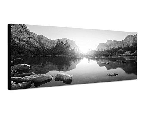 Augenblicke Wandbilder Keilrahmenbild Panoramabild SCHWARZ/Weiss 150x50cm Yosemite Berge Wald Fluss Sonnenaufgang
