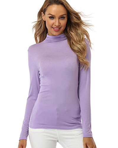 fuinloth Women's Mock Turtle Neck Tops, Long Sleeve Slim Fit Spandex Shirts, Basic Plain Layer Underscrub Tees Lavender Small