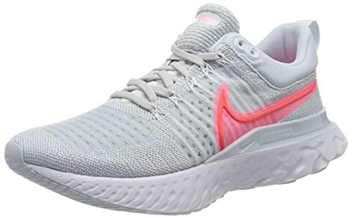 Nike W React Infinity Run FK 2, Zapatillas para Correr Mujer, Pure Platinum BRT Crimson Sunset Pulse Football Grey White, 42.5 EU