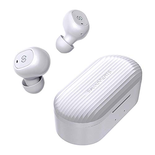 ワイヤレスイヤホン SoundPEATS(サウンドピーツ) Bluetooth イヤホン 35時間再生 Bluetooth 5.0 完全ワイヤレス イヤホン 自動ペアリング マイク内蔵 両耳通話 ブルートゥース ヘッドホン スポーツ イヤホン ワイヤードイヤホン [メーカー1年保証] ホワイト