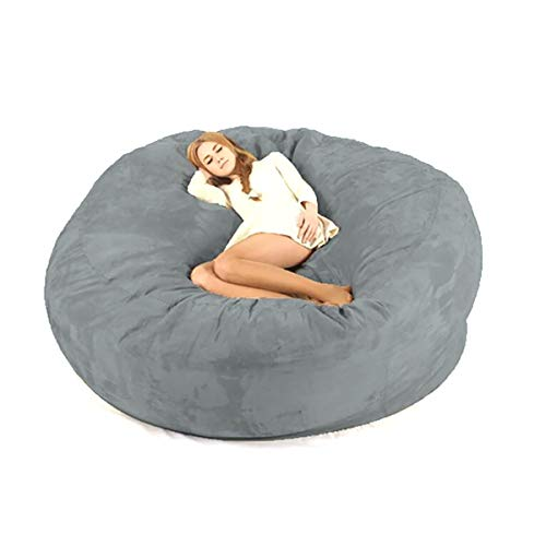 HIUHIU Grey Luxury 7-Foot Bean Bag Chair Cover (no Padding), Black Suede Large Machine Washable Sofa and Large Recliner Furniture.