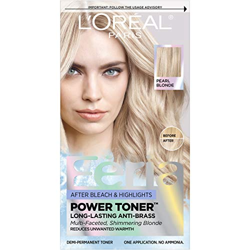 L'Oreal Paris Feria Power Hair Toner, Long Lasting Anti brass Toner for blonde hair, bleached hair, blonde highlights; - Reduce brassiness for all blonde hair types and textures