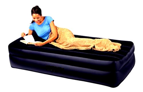 Skroutz Twin Bed Air Mattress Waterproof Inflatable Raised Pillow Bedroom Furniture Camping with Built-in Electric Pump