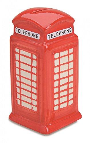 Hucha cabina de teléfono Londres de cerámica, 19x 9x 9cm, color rojo