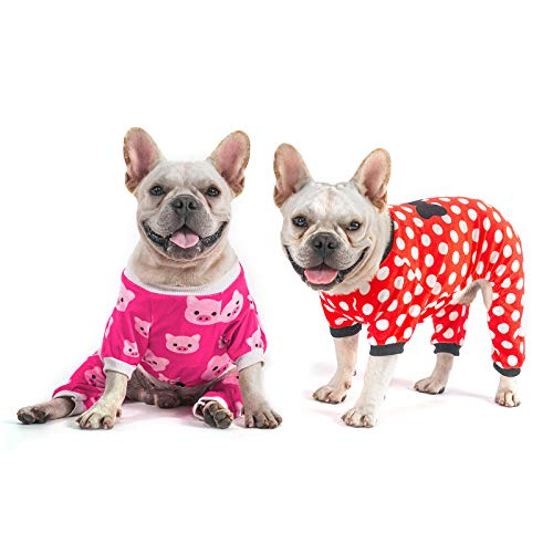 CuteBone Small Dog Pajamas Pet Clothes for Girls Large, Classic Style, 2 Pack, 2SY09L