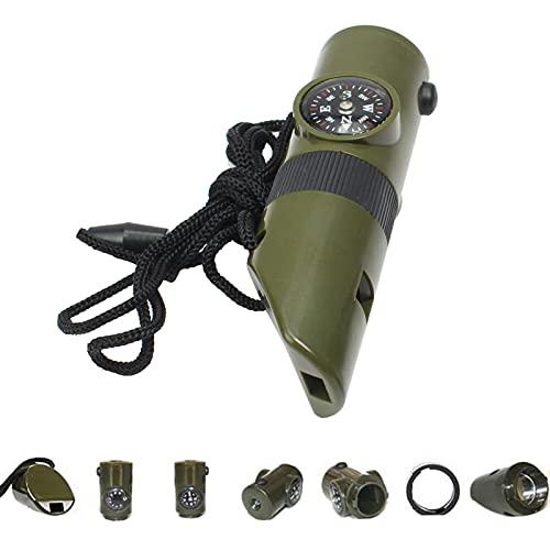 BIUDUI 7-in-1 Trillerpfeife Lebensrettende Pfeifen Multifunktionale Whistle, Lupe, Lampe, Kompass, Thermometer, Reflektor, Versiegelte Röhre Für Camping Im Freien Outdoor-Lieferungen