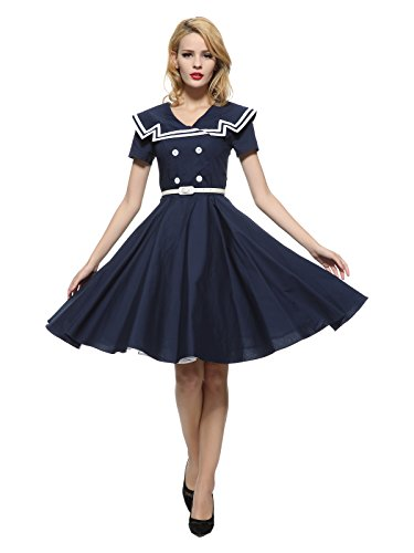 Maggie Tang 50 60s Rockabilly Vintage Gossip Girl Swing Gown Dress Navyblue 2XL