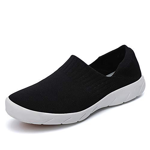 [Fainyearn] スニーカー レディース スリッポン カップルシューズ モカシン ナースシューズ 安全靴 デッキシューズ 超軽量 ウォキングシューズ 2WAY かかと踏める カジュアル 安全靴 看護師 作業靴 大きいサイズ 着脱簡単 ブラック 24.