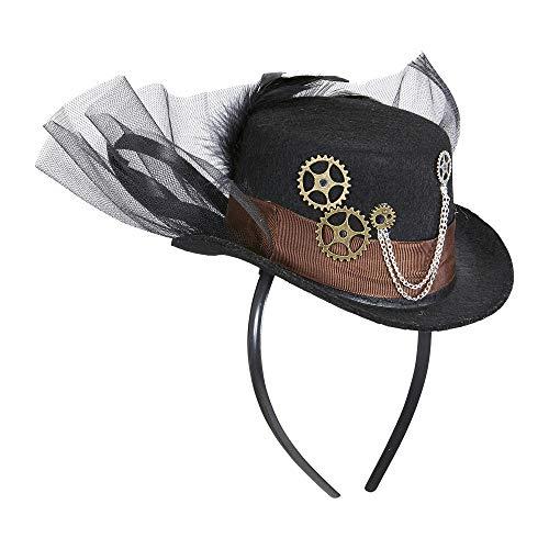 Widmann 09645 – Steampunk Minizylinder, auf Haarreifen, schwarz-braun, Minihut, Kopfbedeckung, Motto Party, Karneval