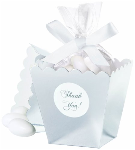 Wilton 415-0522 Silver Popcorn Box Favor Kit, 50 Count