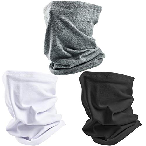 Winter Neck Gaiter Warmer-3PCS Soft Fleece Windproof Face Mask for Cold Weather Skiing Cycling Snowboard Outdoor Sports(Black,White,Grey)