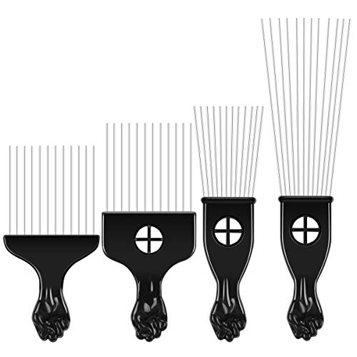 4 Pcs Afro Pick Pik Comb African American Hair Brush Metal Hair Coloring Combs Hairdressing Styling...