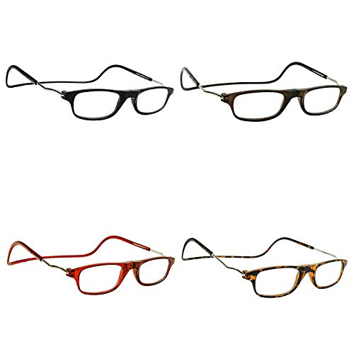 Magnetic Reading Glasses (4 Pairs Eyeglasses) with Adjustable Strap Connect...
