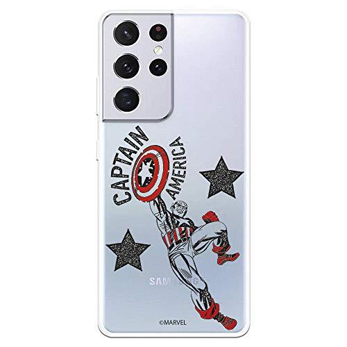 Funda para Samsung Galaxy S21 Ultra Oficial de Marvel Capitán América Red Transparente. Protege tu móvil con la Carcasa para Samsung de Silicona Oficial de Marvel.