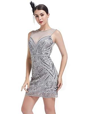 KILOLONE Flapper Dresses 1920s Great Gatsby Dress Roaring 20s Vintage Sequins Beaded Dress