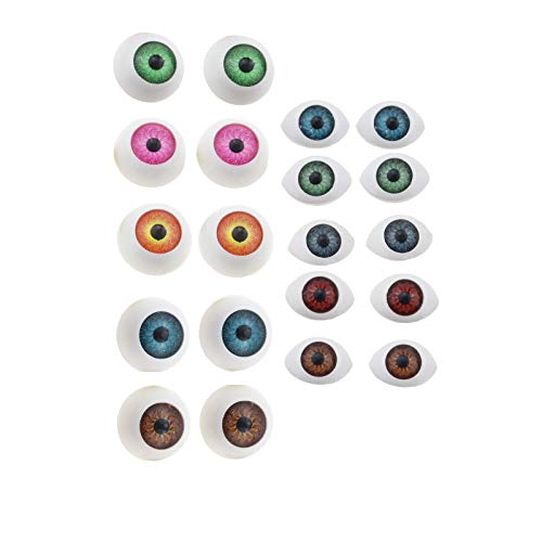 Setaria Viridis 10 Pairs Oval Round Doll Eyes Realistic Resin Eyes Craft Eyes Eyeballs for DIY Sewing Craft Dolls Puppet Bears Animal Stuffed Toys (Mixed Color)