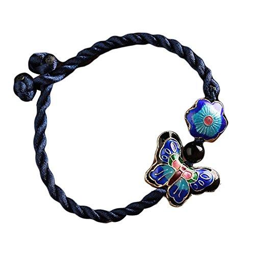 Cloisonné Motif Bracelet Tissé à la Main Bracelets de Fleur de Papillon 15 CM