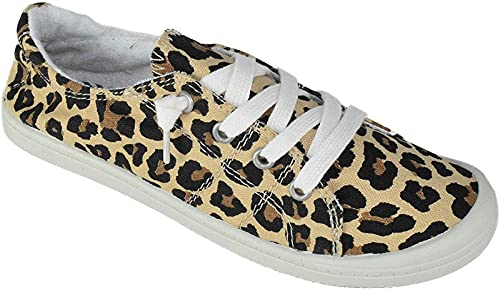 Soda Flat Women Shoes Linen Canvas Slip On Sneakers Lace Up Style Loafers Zig-S Leopard Cheetah Print 8