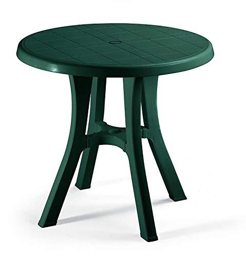 Table vert pour extérieur modèle Pol Ø 70 cm en résine mesure 80 x 80 cm – avec 4 pieds réglables – Fabriqué en Italie