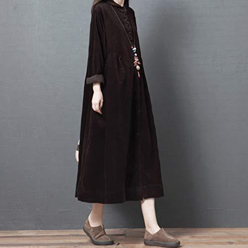 LXDWJ Nuevo Corduroy Espesa otoño Invierno Vestido Giro botón botón Blusa Vestido más tamaño Mujer Vestido Largo Vintage (Color : A, Size : XX-Large)