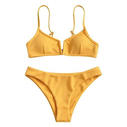 ZAFUL Damen Bikini Set, Zweiteilige Gerippter Bikini-Oberteil mit V-Verkabelung High Cut Bademode Sexy Swimsuit Sommer (Gelb, S)