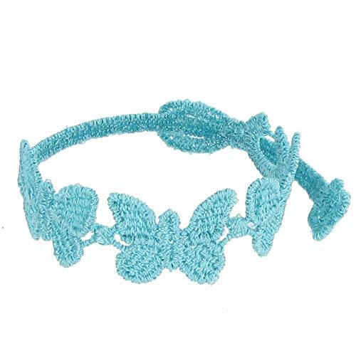 Joyas Les Poulettes - Pulsera Cruciani - Encaje para Chicos Mariposas Color Azul de Metileno