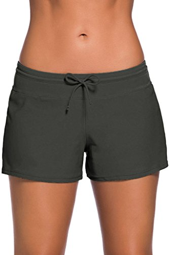 Cokar Damen Badeshorts Bikinihose Hotpants Sportbikini Schwimmshorts Bunte Farben, Bottom-a, XXL grau