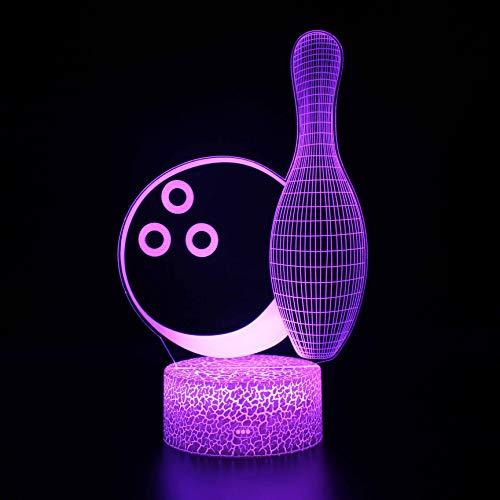 Fantasy Bowling 3D Luz de Noche 16 Cambio de Color Lámpara Acrílico Plano ABS Base Cargador USB de la Decoración del Hogar Juguete Brithday Navidad Niño Niños Regalo