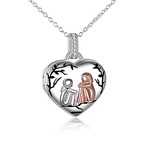Sister Birthday Gifts from Sister Sterling Silver Sister Picture Locket Necklace Friendship Memory Photo Pendant Necklace Jewelry Gifts for Big Little Sister