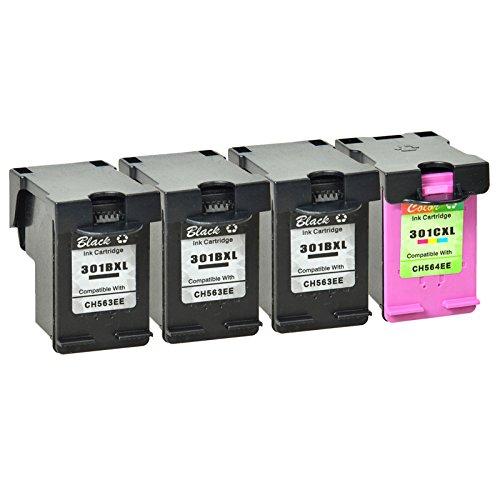 NineLeaf Remanufactured 301 301XL 301CXL inktcartridges compatibel met HP Deskjet 2540 1510 3055A 1000 1050A 2542 1514 Envy 4500 5530 5532 4502 Officejet 2620 4630 printer (3 zwart, 1 driekleurig)