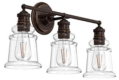 BONHAR Dark Bronze 3 Lights Bathroom Vanity Light Fixtures, Industrial Farmhouse Vanity Lights Wall Sconce, Wall Lamp with Clear Glass Shade, Vintage Vanity Lighting Fixtures (Bulb not Included)