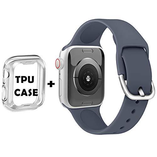 Anzhee Compatibile per Apple Watch Cinturino 38mm 40mm 42mm 44mm, Morbidi Sportiva Silicone Impermeabile Cinturini di Ricambio Compatibile per iwatch Serie 5, 4, 3, 2, 1 per donna uomo 38mm/40mm S/M