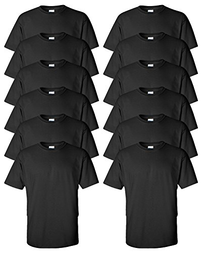 Gildan Adult Ultra Taped Neck Preshrunk Jersey T-Shirt, Black, Small. ( Pack12 )