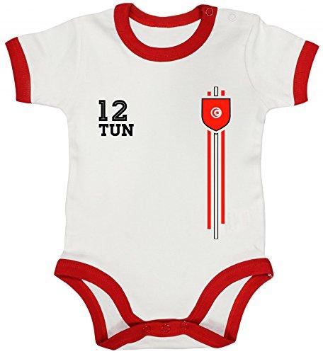 ShirtStreet Tunisia Soccer World Cup Fussball WM Fanfest Gruppen Ringer Strampler Baumwoll Baby Body kurzarm Jungen Mädchen Streifen Trikot Tunesien, Größe: 6-12 Monate,White/Red