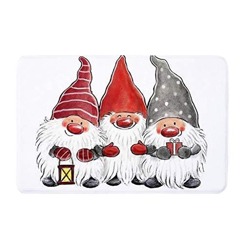 Vxhohdoxs Teppich Antirutsch-Fleece Fußmatte Weihnachten Gemustert Teppich Fußmatte Anti-Rutsch-Matte waschbar Eingang Fußmatte Badezimmer Matte