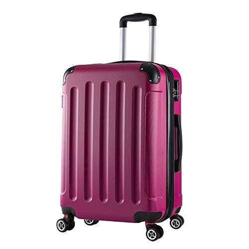 WOLTU RK4202pk, Reise Koffer Trolley Hartschale Volumen erweiterbar, Reisekoffer Hartschalenkoffer 4 Rollen, M/L/XL/Set, leicht und günstig, Pink (L, 67 cm &...