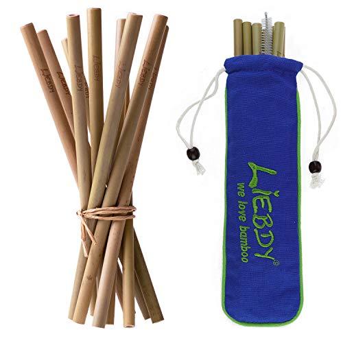 Liebdy® Set de 10 pajitas de bambú (10 unidades de 19,5 cm) + cepillo de limpieza XXL + bolsa de algodón - pajitas veganas reutilizables I estuche azul