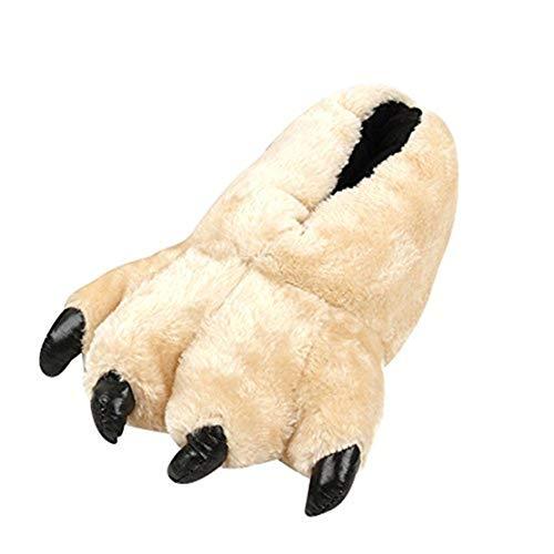 LANFIRE Plüsch Bärentatze Tier Hausschuhe Home Claw Schuhe für Leopard Pantoffel Tiger Hausschuhe (White)