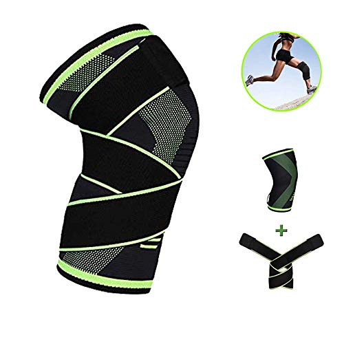 Compression Knee Braces for Men Women Knee Sleeve Support with Strap for Running Hiking, Crossfit,...