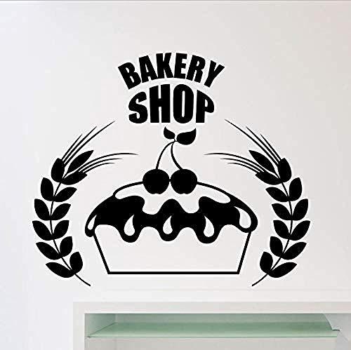 Kuchen Bäckerei Logo Wandaufkleber Bäckerei Shop Küche Cafe Wandfenster Dekoration Aufkleber Vinyl Applique Poster 50X42Cm