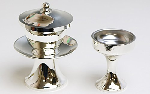 仏器(ご飯入れ)・茶器(お水入れ)セット シルバー