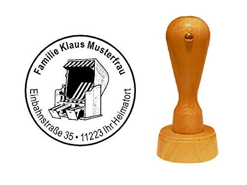 Stempel Holzstempel Motivstempel « STRANDKORB » mit persönlicher Adresse - Urlaub Hotel Ferienwohnung Ostsee